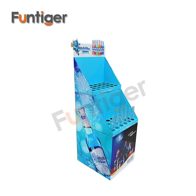 Customized cardboard beer display/cardboard drinks stand/bottle floor display rack