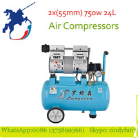 2x55mm 750w copper motor 220v 0.8Mpa 1400rpm 24L air compressors