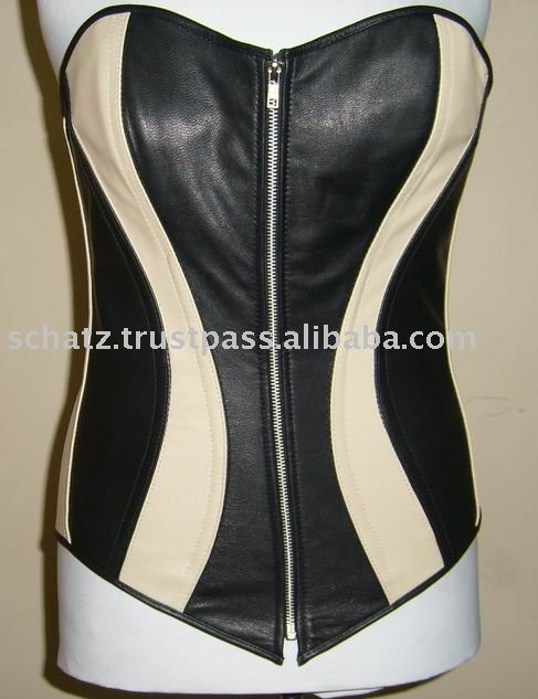 Full Breast Leather Women's Black / Beige Steel Boned Corset