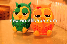 3D Owl Cute Animal Silicone Case Cover For iPhone 5 5s 4 4s