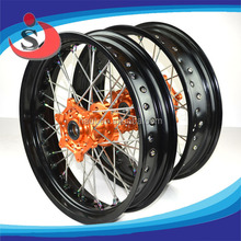 "17x5.0"" KTM Racing Super Motard Motorcycle CNC Alloy spoked wheels"