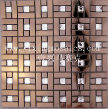 GM-170 high quality brown and silver crystal glass mix stainless steel mosaic for wall