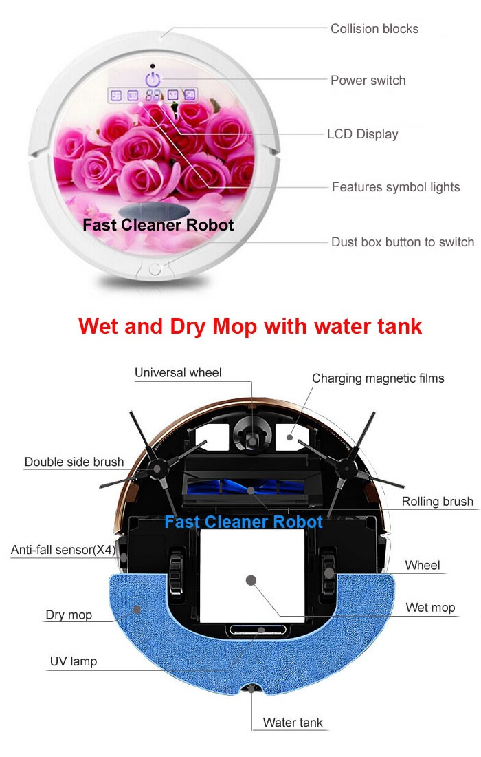 New Wi-Fi enabled Smartphone App Wireless Robot Cyclonic Vacuum Cleaner With Water Tank