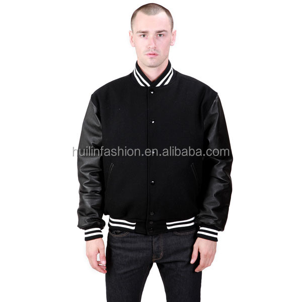2014 wholesale leather wool athletic plain varsity jacket