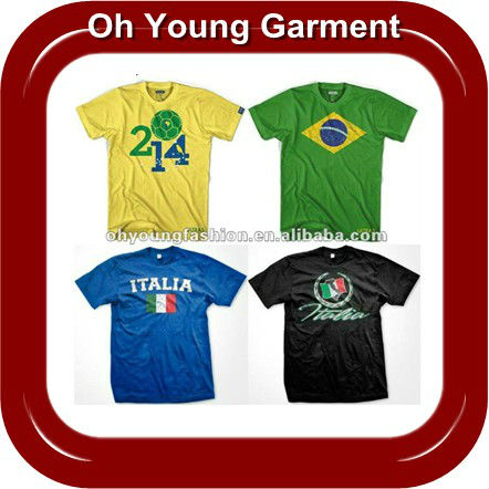 2014 Brazil World Cup Customized Flag 100% Polyester Printing Short Sleeve T Shirt For Men Wholesale In China