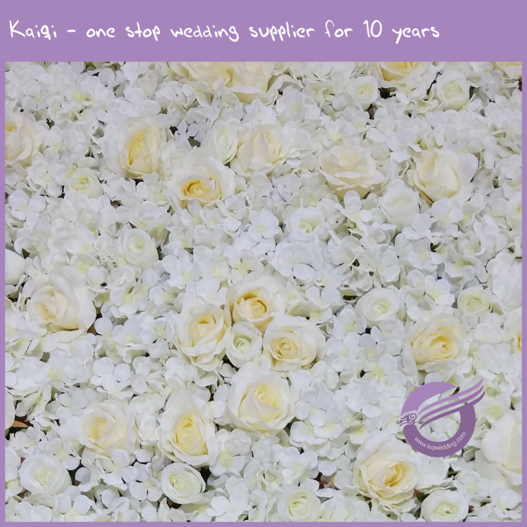 RH00240 Wedding backdrop decoration White artificial rose flowers wall