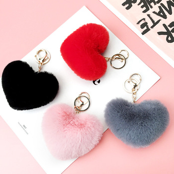 Factory direct plush heart shaped key chain fur pom pom ball keychain for charm girls bag