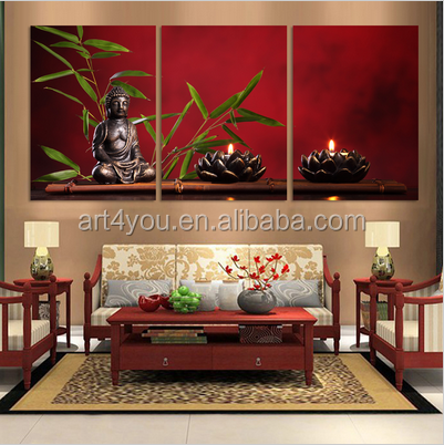 3 Panel Abstract Printed Hotoke Buddhism Buddha Wall Painting Picture Cuadros Decor Buda Canvas Art For Bed Room Unframed