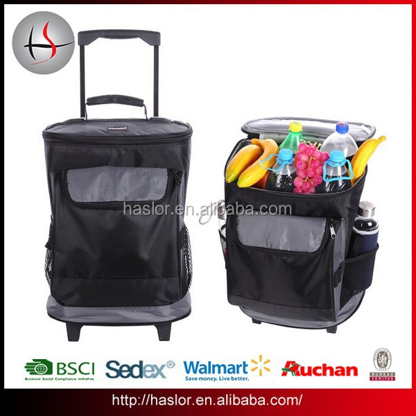 Quanzhou Factory 600D Cheap Trolley Backpack with wheels Trolley Cooler Bag for Picnic