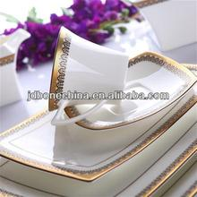 christmas 2015 new design golden porcelain with flower gold line stylish royal fine bone china cutlery set