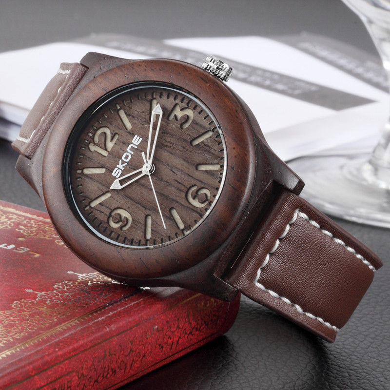 2016 popular leather band japanese movement wood watches vogue