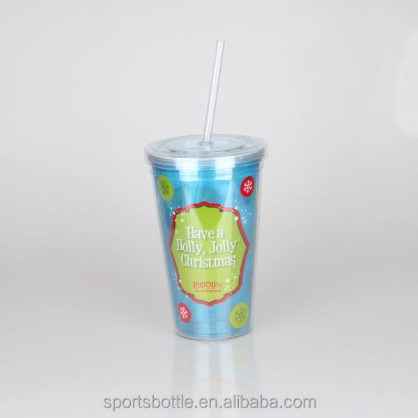 hard plastic cup with lid and straw , clear plastic straw cup