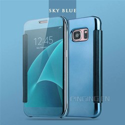 High light UV PU Fip Cover Phone Case Hard PC Clear View Cover For Samsung S6 Edge