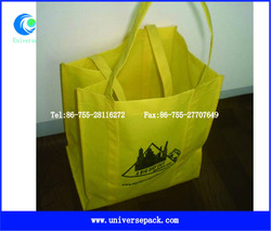 With Logo Print Durable Non-woven Bags Yellow Hot Sale For Trade Custom Bag