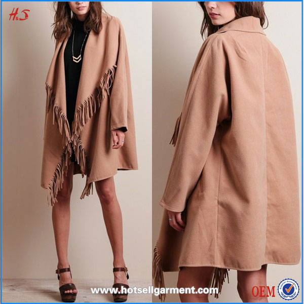 New fashion korea style women winter coat clothes with fringe