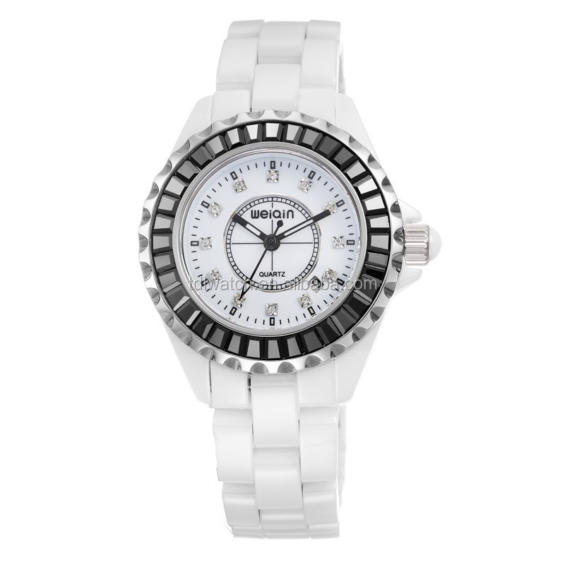 Ceramic Wrist Watches fashion With Sapphire Crystal & Zircon Decoration