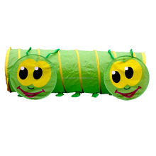 Kids Play Tent Green Caterpillar Polyester Tunnel and Ball Pit Indoor and Outdoor, Infinite Fun for Your Creative Little Ones