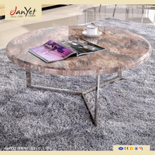 Factory Direct Modern Round Stainless Steel Frame Marble Top Center Table For Livingroom
