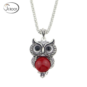 Ethnic Jewelry Sets Antique Silver Color Chain Red Black Beads Owl Pendant Necklace Owl Drop Earrings Charm Bracelet