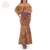 The Summer New Slash Neck Ruffles Elastic African Maxi Long  Dress Designs For Women