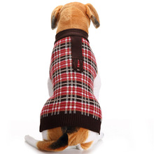 Hot dog application pet apparel chequered dog winter jacket with scarf