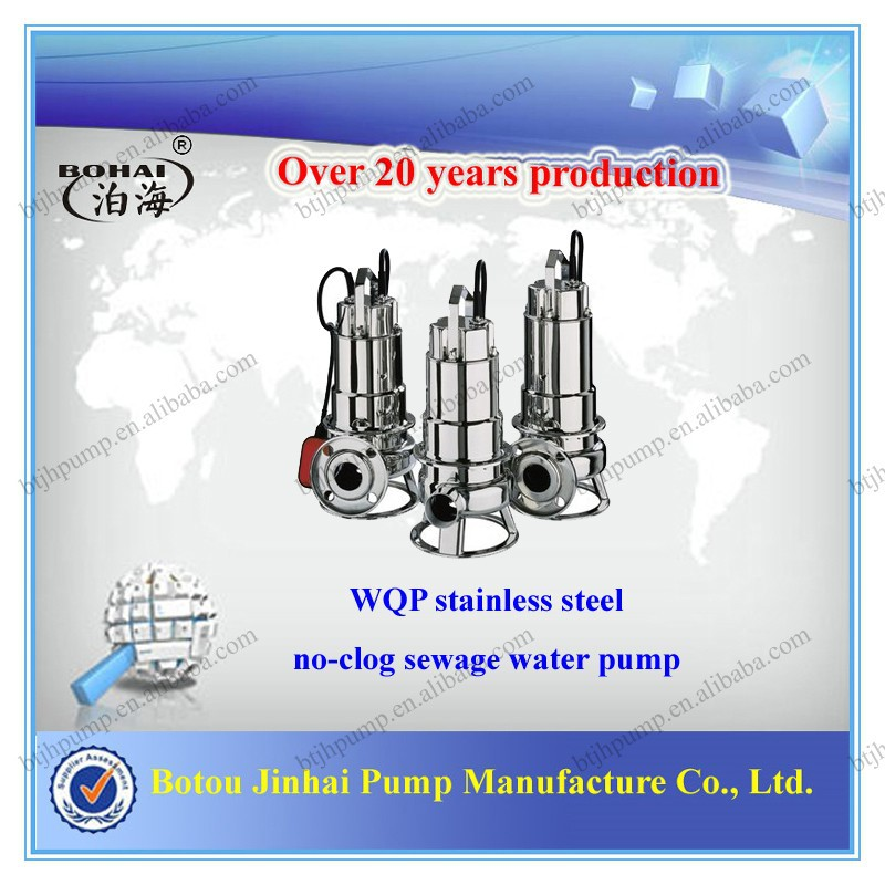 WQP stainless steel 304 sewage non-clog submersible water pump