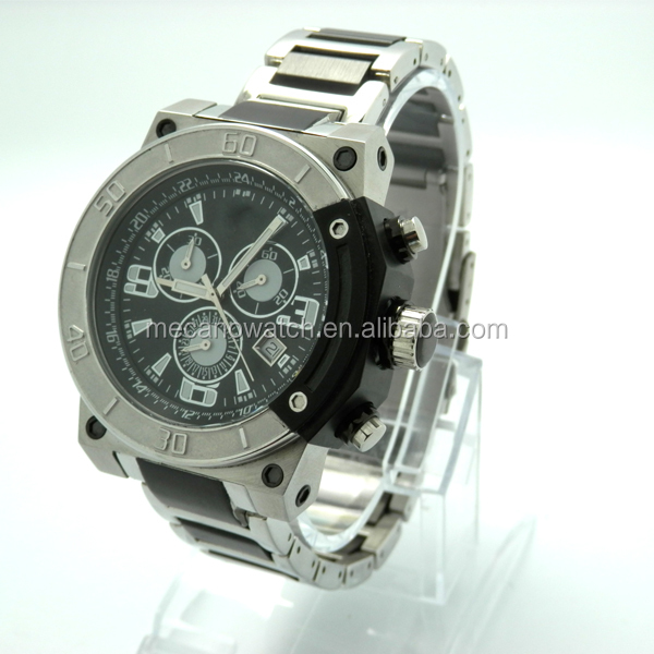 fashion watch japan movt quartz watch price for man with brand chronograph movement and waterproof from China watch factory