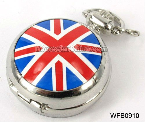 Fashion mens pocket watch round with uk flag