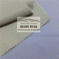 stock lot , 2016 fashion classic cvc yarn dyed stripe fabric for men's shirt,no moq,quick delivery