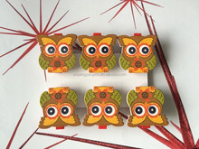 Multi colors owls mini Wooden crafts set 6 Pegs for Christmas home decoration Xmas wooden clips gifts