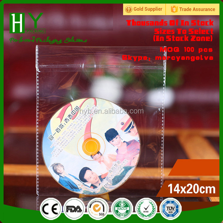 wholesale custom header opp bag/self adhesive opp plastic bag/cd packaging