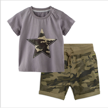 2019 Summer in stock kids boys clothing <strong>sets</strong> star T-shirts camo shorts 2pcs casual wear 2-7years baby <strong>children</strong> boys clothes <strong>sets</strong>