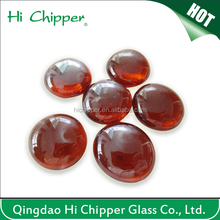 Red fire pit glass nugget with round shape
