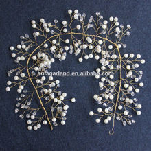 Delicate Fresh Water Ivory Pearl Vine Wedding Headband, Hair Jewelry