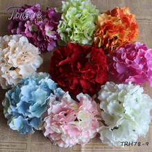 Factory direct sale 14CM large artificial flower heads china hydrangea heads for wedding wall decoration