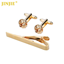 Three Colors Knot Cuff links Shirt for Men Tie Clip Set Classic Design Mens Tie Bar for Wedding Party