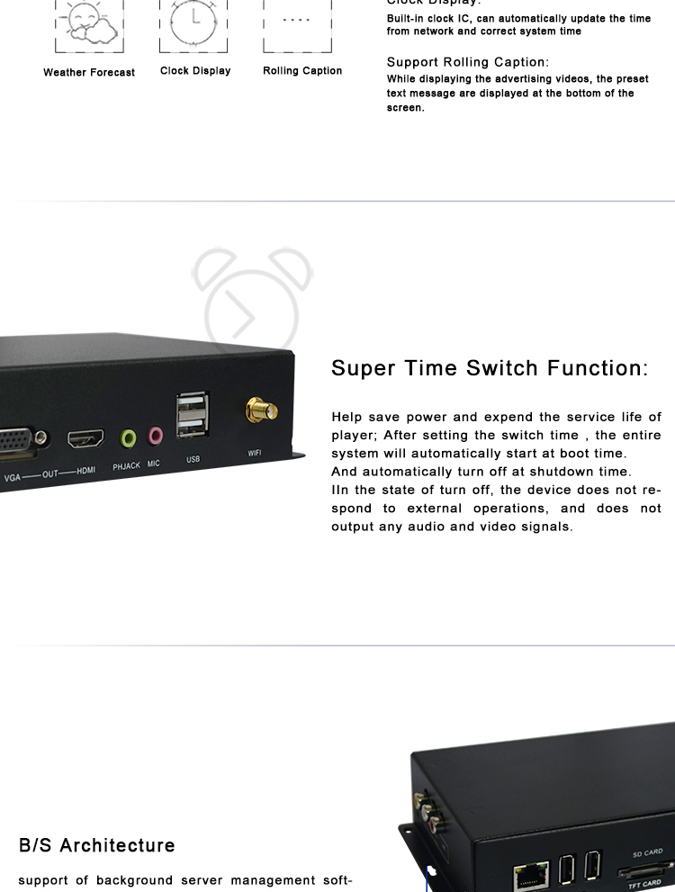 Time switch content management system portable digital signage usb network media player android