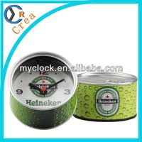 2015 Best selling unique personalized gifts retail item,wholesale items,cheap promotional gifts Heineken design tin can clock