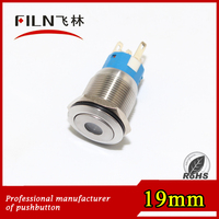 electric switch high dot illumination 19mm metal LED latching push button switch for crane