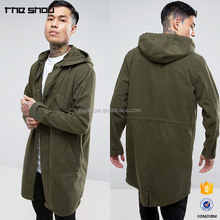 OEM service mens long hooded parka jacket In Khaki