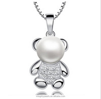 8-9mm AAA semi round lovely cute girls fashion bear shape real freshwater pure pearl pendant