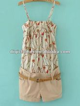 lady's casual jump suit with printing,off-shoulder
