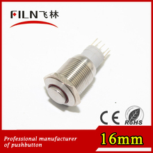 16mm brass chromed finished momentary illuminated push button led switch ring lighted raised button