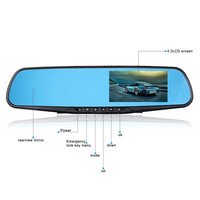 "Full HD 1080P 4.3"" 170 degrees View Angles Video Recorder Dash Cam Rearview Mirror Car Camera DVR"