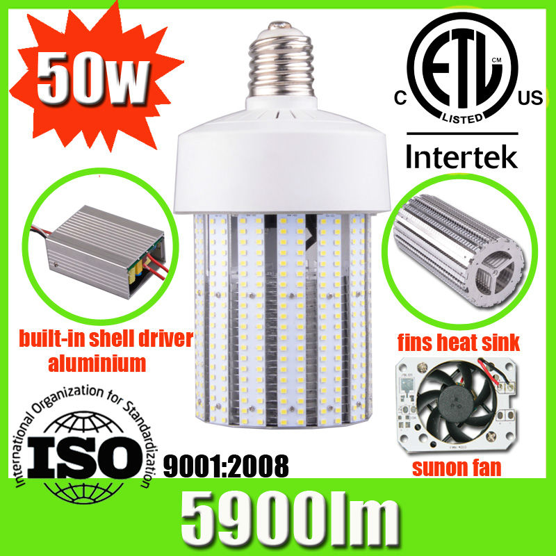 High power aluminum shell driver good cooling e40 led lamp 12v 50w bulb