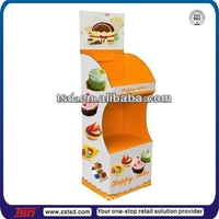 TSD-C322 Custom retail store floor cardboard biscuits display shelf/cake pops display stand/macaron display stand