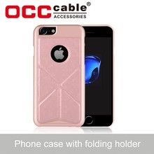 PC+PU Leather Back Cases With Folding Transformer Stand Holder for iphone 7 leather case