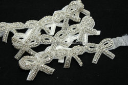 Bow crystal applique Trim,Butterfly Wedding dress applique trim,small crystal bridal trim sash
