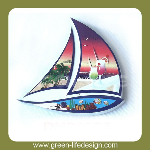 Nautical souvenir polyresin Sailboat shaape fridge magnets
