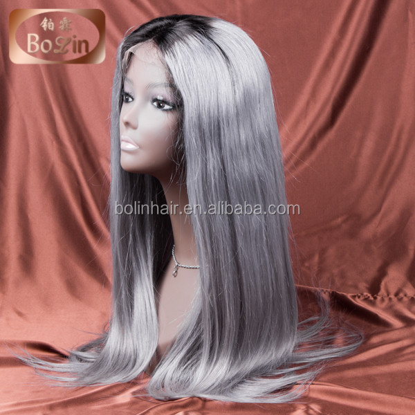 Qingdao Factory 30 inch full lace wig Grade 7A Short Style Grey Hair Wig